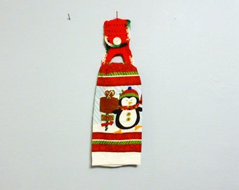 Full Size Kitchen Towel with Removable Crochet Towel Holder  Holiday Penguin Christmas