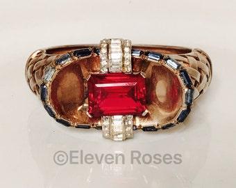 Vintage 1940's Mazer Jewels of Fantasy Deco Rhinestone Basket Weave Hinged Bangle Bracelet Free US Shipping