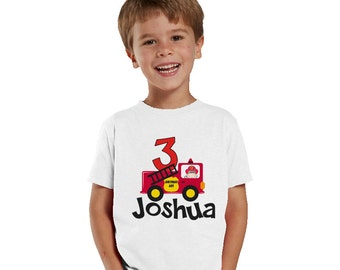 Personalized 3 years old birthday fireman shirt