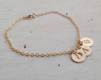 Personalized bracelet,bridesmaid bracelet,initial bracelet,dainty letter bracelet,Gold initial bracelet,disc letter, gift for her,minimalist