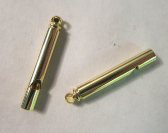 36x5mm Brass Whistle, Gold-Finished, use as a Pendant or a Fob - Available Individually & in Larger Pkgs
