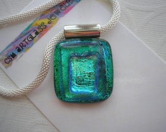 Fused Glass Pendant, Aqua, Teal, and Green, Dichroic Glass, Necklace Statement, Blue Green Pendant, Dichroic Glass Jewelry, Home Made