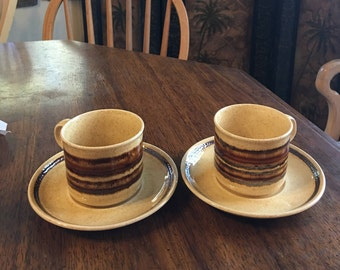 Two Royal Worcester Palissy Crofter Pattern Cups and Saucers Vintage