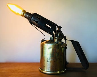Steampunk lamp, Industrial light, upcycle vintage Crossland brass blowtorch table lamp