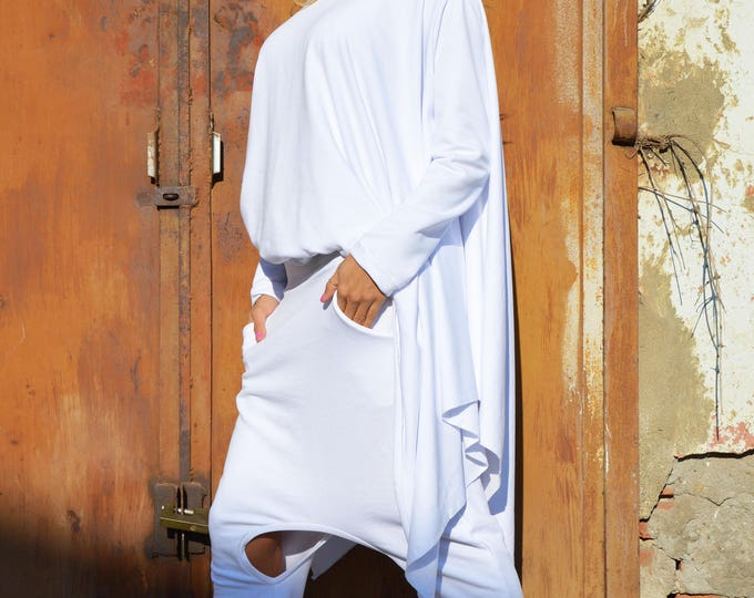 Maxi White One Size Set, Cotton Maxi Sweatshirt, Extravagant Drop Crotch Pants, Elegant Loose Set by SSDfashion