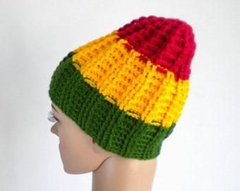 Rasta beanie, skull fit sports hat, rastafari sport beanie, rasta hat, reggae beanie