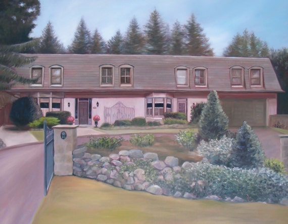 Custom House Painting - House Portrait - Painting of House - Housewarming