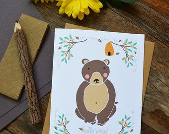 Baby Shower, Greeting Card, hello baby, baby bear, honey bees, Welcome Little One, Baby gift, Gender neutral, Illustration, sweet baby