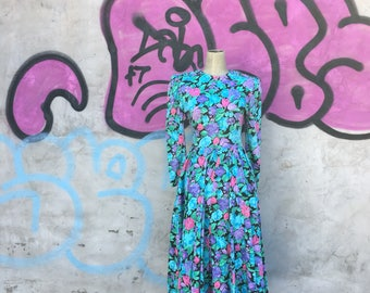 Vintage 1980s Jewel Toned Floral Jersey Knit Dress (Size Small/Medium)