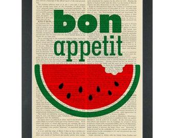 Watermelon Bon Appetit Dictionary Art Print