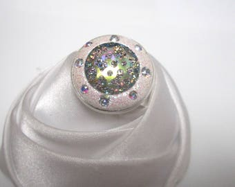 ring Blue Crystal beads in the depths of the stars