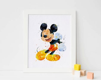 Mickey Mouse wall art, mickey mouse Watercolor mickey mouse printables mickey mouse Art Print, mickey mouse decor Disney Wall Art Disney art