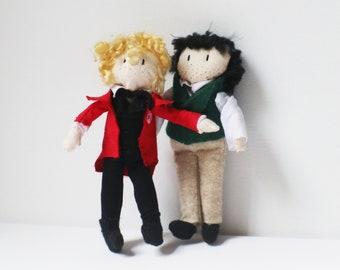 "Enjolras and Grantaire dolls, 6"" OOAK Les Miserables dolls by KraftySpaghetti"