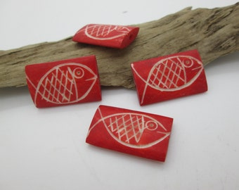 Red Fish Bead, RectangleCarved  Bone Fish Bead, Indonesian Fish Bead, 28x23mm (4)