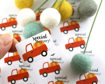 Shop Exclusive - SPECIAL DELIVERY vintage red truck with pumpkin - red farm truck - special delivery sticker, happy mail sticker