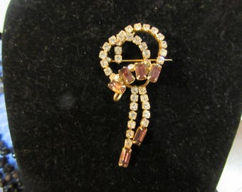Vintage Purple and Clear Rhinestone Dangle Brooch and Pendant