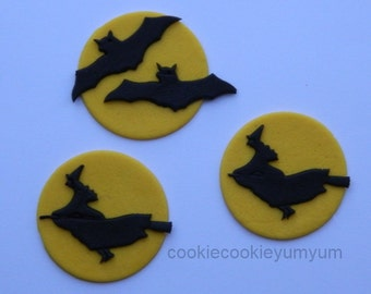 12 edible HALLOWEEN WITCH BATS moon friday 13th lucky scary cake cookie cupcake toppers decoration sparty wedding anniversary birthday