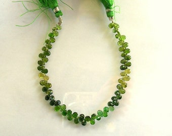 "Shaded chrome green tourmaline faceted pear bead AA+ 5-5.5mm 7"" strand"