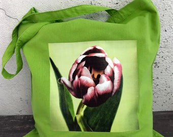 Red Tulip Green Cotton Tote Bag