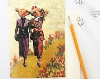 Lesbian Card | Kissing Gay Foxes Greeting Card | Lesbian Wedding | Lesbian Wedding Anniversary | LGBTQ Card