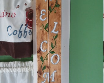 Hand painted wooden welcome sign
