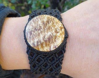 macrame bracelet with fossilised wood, macrame bracelet, natural stone bracelet, petrified wood bracelet, fossilised wood bracelet
