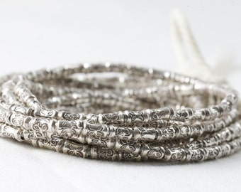 Fine Silver Beads Stamped Butterfly 1mm hole 6mm bead pack of 20 beads .999 fine silver hill tribe beads