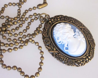 Victorian Cameo Pendant Necklace, Antiqued Brass, Blue and White Cameo, Fall Harvest, Victorian Lady