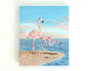 Acrylic Painting, Artwork with Seashells, Art Wall Picture of Flamingos, Flamingo in Seashell Mosaic, Mosaic Art, 3D Art Collage, Home Decor