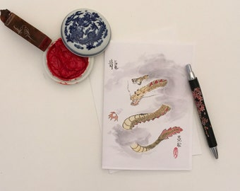 Blank Cards, Pack of 5 with Envelopes, Dragon, Any Occasion, Sumi-e, Chinese Watercolor, Print