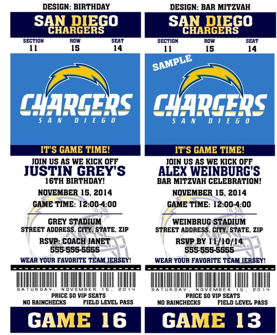 Printable Birthday Party Invitation Card San Diego Chargers