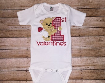 """Boys Embroideried """" First valentines""""onesie"""" bodysuit. Ready to Ship*****Please Read Shop Announcement*****"""