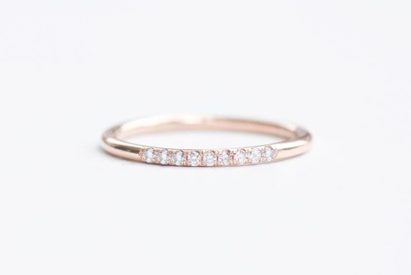 Rose Gold Diamond Wedding Ring Rose Gold Half Eternity Ring