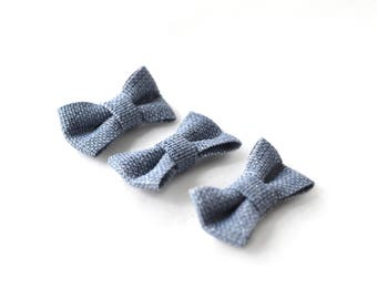 Set of 3 bows grey blue