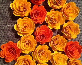 Set of 24 small 1 inch rolled 3D paper flowers in shades of Yellow and Orange