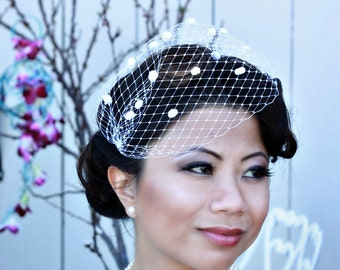 10 inch  Bandeau Birdcage Veil with Chenille Dots