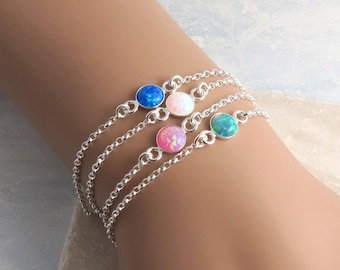 Opal Bracelet, skinny sterling silver, dainty layering bracelet, boho style, quality lab created opal