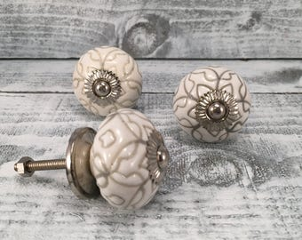 Embossed Tomato Knob, Beach Inspired,Floral Design Knobs, White & Grey Color, Cabinet Supply Drawer Upgrade, Ceramic Pulls, Item #504309322