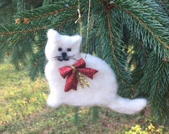 Felted Cat/Kitten Christmas Ornament. Needle Felted