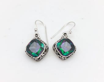 Square Sterling Silver and Mystic Topaz Earrings