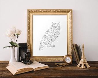 Geometric Animal Print, Geometric Owl Print, Geometric Art, Black and White Wall Art, Digital Print, 11x14 Print, 8x10 Print