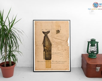 Hitchhiker's Guide to the Galaxy - Whale and Petunias - vintage poster, print - Portrait Version
