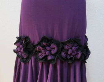 Lovely special rose decoration in purple color skirt or tube dress for your option plus made in USA (VN98)