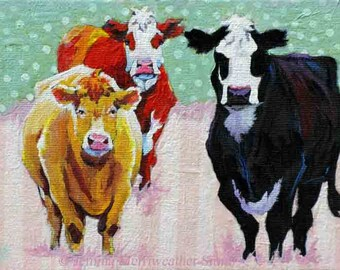 Cow Painting, Cow Print, Cow Art, Cowgirls Pastel Polka Dots & Stripes, Art Print 8 x 10 by Jemmas Gems