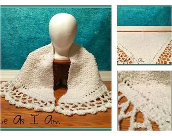 Crochet Winter White Boucle Shawl - Adult