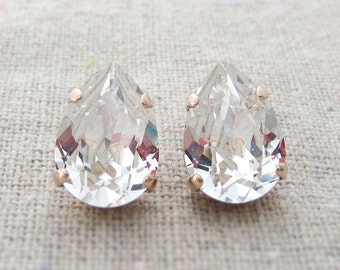 Swarovski Crystal Faux Diamond Teardrop Rhinestone Pear Rose Gold Post Earrings Wedding Bridal Jewelry Bridesmaids Presents Gift for Her