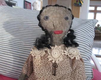 Primitive Folk Art Doll Priscilla, OOAK, FAAP