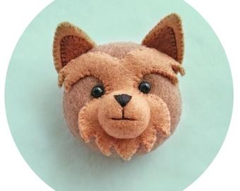 Yorkshire Puppy Felt brooch, Kawaii Yorkie Dog Handmade Pin, Cute Yorkie Pup Felt Brooch for Dog Lovers