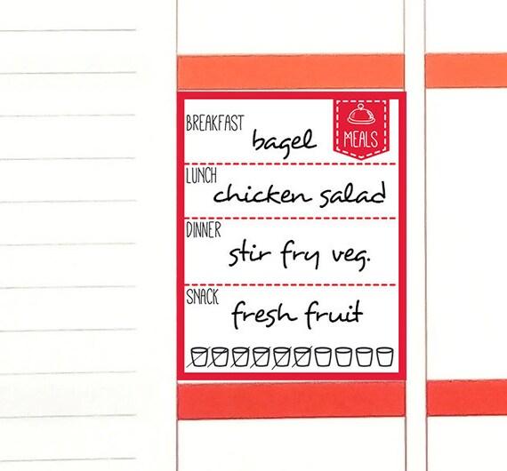 GEDRUCKTEN täglichen Lebensmittel Log Aufkleber. Diät essen