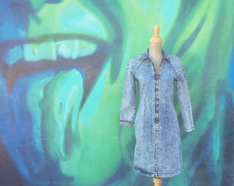 Vintage Stone Washed Denim Dress (Size Small/Medium)